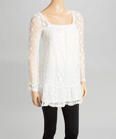 White Lace Square Neck Tunic