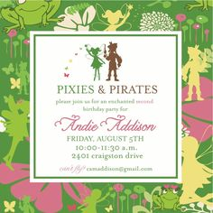 Pixies and Pirates Party Invitation- Tinkerbell. $16.00, via Etsy.