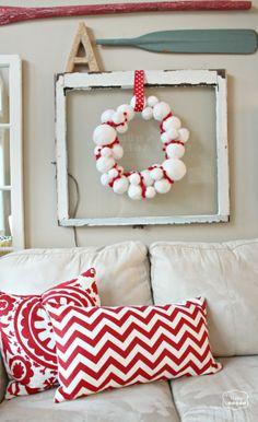 The Happy Housie - DIY Yarn Snowball Wreath with Pom Pom Trim