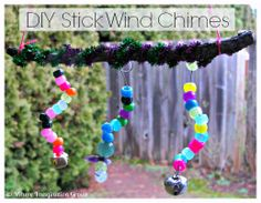 Easy DIY Wind Chimes made with sticks and beads from Where Imagination Grows
