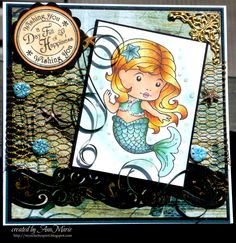 LaLaLand Mermaid stamped image colored by me with copic markers.  For more information visit my blog My Eclectic Spirit at http://myeclecticspirit.blogspot.com