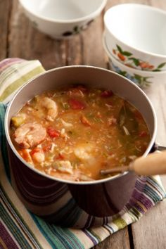 Savannah Seafood Gumbo // can so add a soufle top~