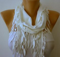 White Scarf  Pashmina Scarf  Headband Necklace Cowl by fatwoman, $13.50