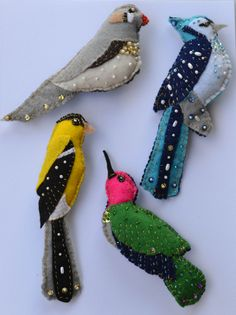 Handsewn Beaded Felt Ornaments by onelovetwolove on Etsy, $40.00