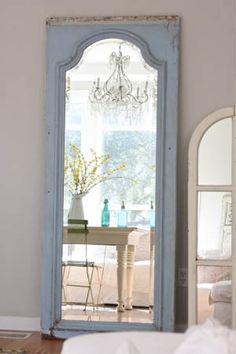 DIY ~ Old Door Turned Into Standing Mirror