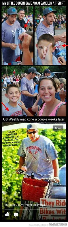 So this kid gave Adam Sandler a t-shirt…  Thats nice :)