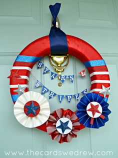 DIY stars and stripes 4th of July wreath