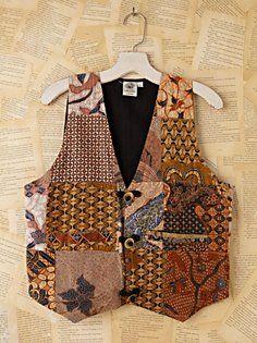 Vintage Batik Printed Vest colorful vest, print vest, vintag batik, vintage, vest interest, batik indonesia, batik print, vest idea