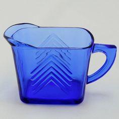 Chevron Ritz Blue Milk Pitcher Depression Glass Hazel Atlas