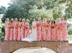 Amsale Print Bridesmaid Dresses | Colorful Spring Palo Alto Wedding: http://www.stylemepretty.com/2014/08/28/colorful-spring-palo-alto-wedding/ | Photography: Stephanie Pool - http://www.stephaniepool.com/#