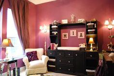 Modern glam nursery with hot pink walls and black furniture  #hotpink #nursery #glamnursery #nameart