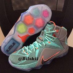 Nike LeBron XII 12 Teal/Grey-Orange Sample (2)