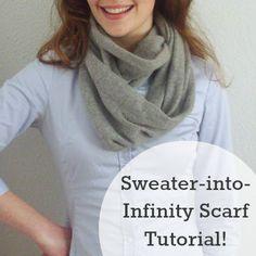 Amazing sweater-into-infinity scarf-tutorial