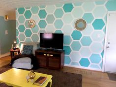 ombre hexagon accent wall tutorial, For My Love Of featured on Remodelaholic
