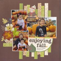 easy layout incorporating scraps.  The dark color background with bolder patterns works well to draw attention craft, scrapbook layouts, easy scrapbook layout, kraft paper, background, paper scraps, scrapbook pages, fall photos, scrapbooking layouts
