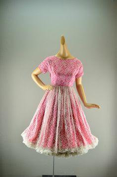 1950s pink party dress 50s lace cupcake dress Size by melsvanity, $98.00