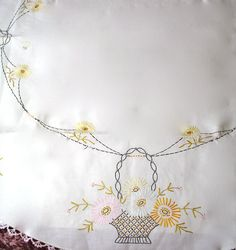 Vintage Hand Embroidered Round Linen Tablecloth by borahstyle, $40.00