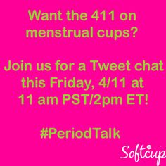 Join us TOMORROW as we co-host Be Prepared. Period.'s tweet chat! We're offering a giveaway to 2 lucky winners that includes a box of Softcup and a purse pack!  http://bepreparedperiod.com/index.php?route=information/information&information_id=8