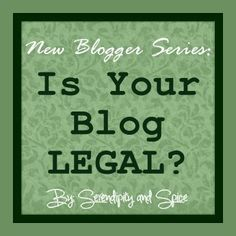 Serendipity and Spice: New Blogger Series - Week 4 - Legal Stuff You NEED to know.