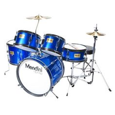Mendini MJDS-5-BL Complete 16-Inch 5-Piece Blue Junior Drum Set with Cymbals, Drumsticks and Adjustable Throne by Mendini. $166.40. Mendini by Cecilio 5-piece junior drum set is a fully functional drum set designed specifically for young drummers. It has all the same features as a full size drum set, only smaller. This set includes bass drum, floor tom, a pair of toms, snare drum, hi-hat, and crash cymbal. Young drummers will get the chance to experience as adult drumme...