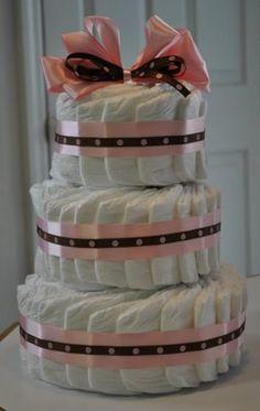おむつケーキ spiral diaper cake, fanned diaper cake