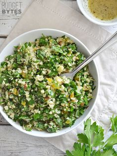 A sweet, savory, and crunchy salad with parsley, apricots, almonds, and a homemade vinaigrette. Parsley Salad with Almonds and Apricots - BudgetBytes.com