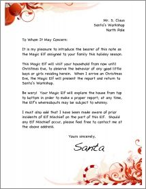 Magic elf letter red swirl from santa with an other idea to keep a