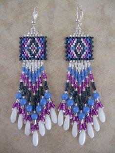 free seed bead earring patterns   Seed Bead Beadwoven Earrings - Periwinkle/Dk.Blue - FREE SHIPPING