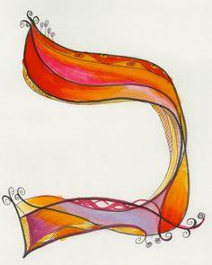 Dabbling in whimsical Hebrew letters. Hebrew Kaf/Chaf by Allison Carter