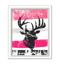 Rustic Deer Antlers Art Print - Hot Pink and more colors