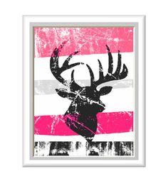 Rustic Deer Antlers Art Print - Hot Pink and more colors