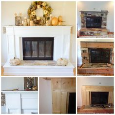 Fireplace makeover - How to update an old fireplace with a new wooden surround. Full tutorial and step by step instructions.