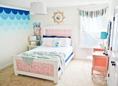 Pink and Blue Girl's Room with DIY Details - nearly everything in this room was DIY'd! {Click to see all DIY tutorials}