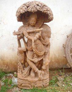 Carved Sandstone Sri Krishna Statue Orissa Creative Art