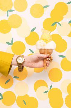 Repin Via: Brittany Jepsen kitchens, fruit, pattern, ice ice baby, colors, ice cream, lemon yellow, icecream, print