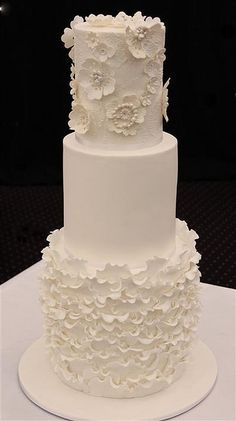Ruffle and lace wedding cake by cake by kim, via Flickr