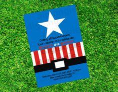 Captain America Birthday Invitation, Superheroe invitation