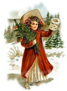 Vintage christmas girl