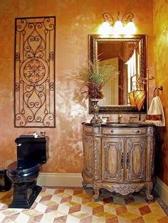 Tuscan style bathroom.  Wood and wrought iron incorporated into this Tuscan style design.