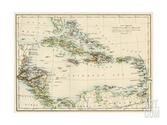 Map of West Indies and the Caribbean Sea, 1800s Giclee Print at Art.com