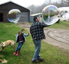 This is the recipe to use if you want to make gigantic long-lasting bubbles. 6 cups water, 1 cup corn syrup, 2 cups regular strength Joy dish soap. Previous pinner said- They were industrial strength, un-poppable creations. We could even stack them together and make bubble sculptures! - Click image to find more Outdoors Pinterest pins