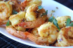 Sauted shrimp w/ tumeric and mustard seed