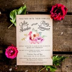Loving these vintage watercolor wedding invitations!