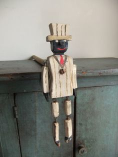 Antique Folk Art Dancing Man Toy Ragtime Wooden Jig Doll.