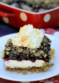 A great dessert for any Blueberry lover - Blueberry Crumb Delight - so delicious and cool! { lilluna.com }