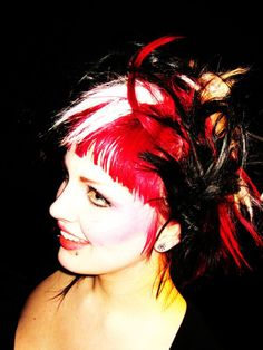 vibrant colored hair red black and white... a little messy, but still cool.