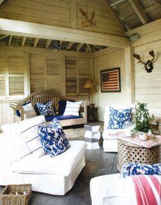 Atlanta Homes & Lifestyles - March 2014 pool cabana pillows Marrakesh Indigo Batik textile from Lacefield Designs #ikat #lacefielddesigns #indigo