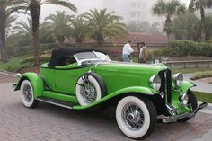 green car, classic cars, sport cars, auburn car, 12160a speedster, auburn 12160a, 1932 auburn, old cars, custom car