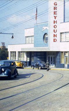 1940s view of Atlanta's old Greyhound Bus terminal on Cain Street.