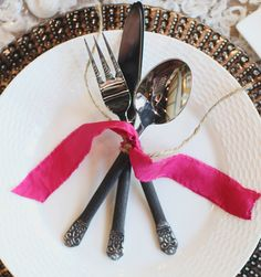 Antique Flatware with twine & ribbon